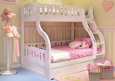 White Wooden Triple Bunk Bed With Drawers - New Double Bunks • 825£