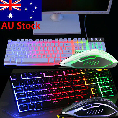 AU49.99 • Buy T6 Gaming Keyboard And Mouse Set Rainbow Backlight Usb Ergonomic For PC Laptop