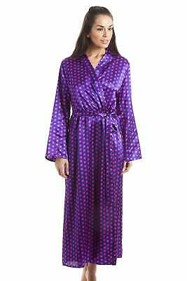Camille Purple With Pink Polka Dot Luxury Satin Dressing Gown • 24.99£