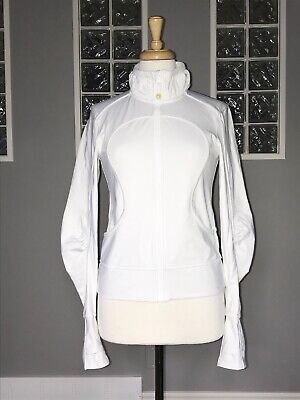 $ CDN58 • Buy Lululemon Jacket 4 White Full Zip Shape Ruching Rare Track Dance