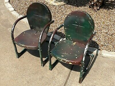 $199.99 • Buy Vintage Pair Of Child Metal Outdoor Lawn Chair Porch Patio Rare Small Kid  Size