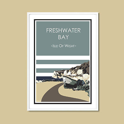 £9.95 • Buy FRESHWATER BAY Travel Poster A4 Design ISLE OF WIGHT Print STRIPY ART