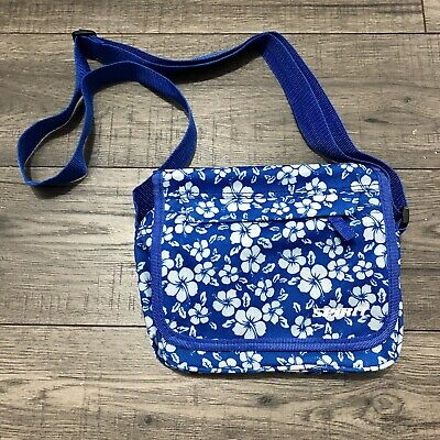 Spirit Hibiscus Floral Flower Small Cross Body Bag Blue White Compartments • 6£
