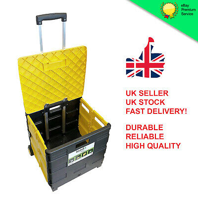 Shopping Boot Cart Folding Collapsible Storage Trolley Box / Wheels And Lid 30KG • 23.99£
