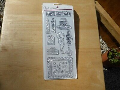 Clear Rubber Stamps Happy Birthday Cake, Balloon, Candle, Ideal For Card Making • 4.99£