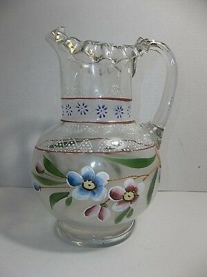 $50 • Buy Antique Victorian Czech Blown Glass PITCHER Hand Painted Enamel Flowers