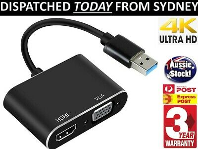 AU28.94 • Buy USB 3.0 To HDMI + VGA Full HD & 4K Video Adapter Cable Converter For PC Laptop