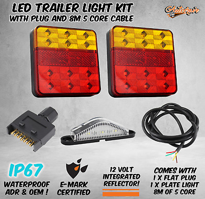 AU44.95 • Buy Pair Of 12 LED TRAILER LIGHTS KIT - 1x NUMBER PLATE, PLUG, 8M X 5 CORE CABLE 12V