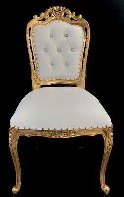 Ornate Chair Gold White Faux Leather Crystal Dining Side Shop Wedding Salon  • 355£