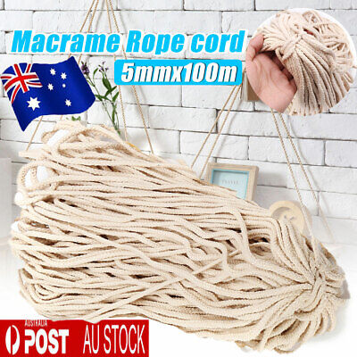 AU15.29 • Buy 5mm Macrame Rope Natural Beige Cotton Twisted Cord Artisans Hand Craft 100M