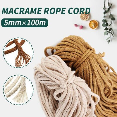 AU14.69 • Buy AU 5mm 100M Macrame Rope Natural Beige Cotton Twisted Cord Artisans Hand Craft