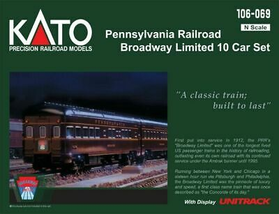 $205.55 • Buy KATO 106069 N SCALE Pennsylvania RR Broadway Limited 10 Car Set 106-069 NEW