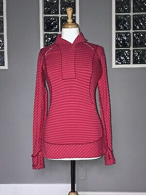 $ CDN54 • Buy Lululemon Think Fast Pullover 6 Cranberry Boom Juice Stripe 1/2 Zip Long Sleeve