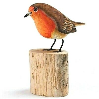 Hand Carved Wooden Painted Robin On A Tree Stump Garden Ornament Bird Carving • 14.99£