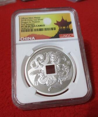 $128.50 • Buy Official 2018 China 1oz Silver Dragon & Phoenix First Rel NGC PF 70 UC     #MF-