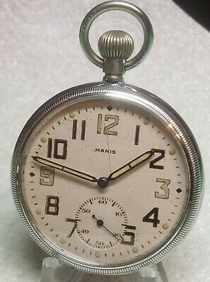 WW2 BRITISH MIILITARY GS/TP RARE MANIS, REVUE Cal 30 POCKET WATCH FULLY SERVICED • 95£