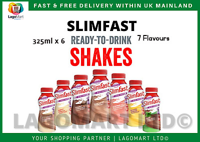 6 Pack X SlimFast Ready-to-Drink Shake High Protein Meal Replacement - 325 Ml • 11.55£