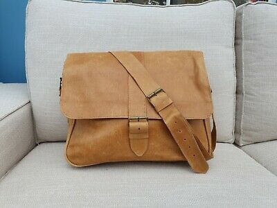 Handmade Brown Tan Leather Laptop Bag - Made In Ethiopia, Africa  • 85£