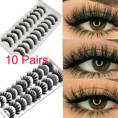 10 Pair 3D Mink False Eyelashes Wispy Cross Long Thick Soft Fake Eye Lashes UK • 3.49£