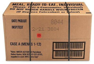 $119 • Buy 12ct Case MRE Meals Ready-to-eat US Military Surplus A Menus 1-12, 2021-inspect