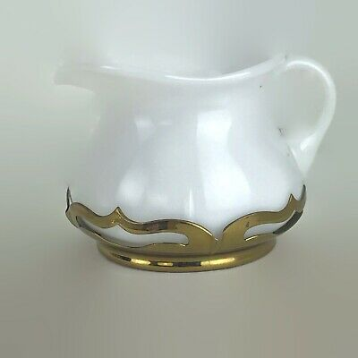 $12.12 • Buy 1930s Art Deco Farber Bros. Krome Kraft Brass Cambridge Milk Glass Creamer U23