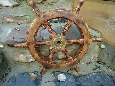 Ships Wheel Mango Wood 18  Across- Wooden & Brass Maritime Pirate Very Nice Gift • 38.95£