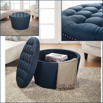 $188.62 • Buy Storage Ottoman Table Coffee Large Round Ottomans Tufted Linen Upholstery Navy
