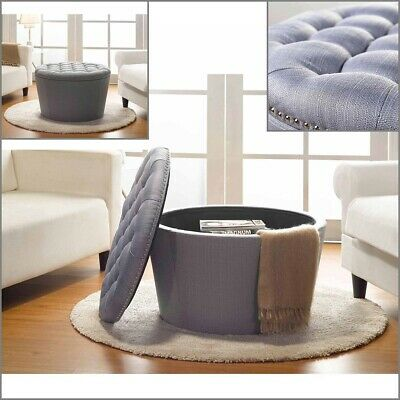 $188.62 • Buy Storage Ottoman Table Coffee Large Round Ottomans Tufted Linen Upholstery Gray