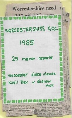 1985 WORCESTERSHIRE CCC Re Live Season With Newspaper Reports • 4£