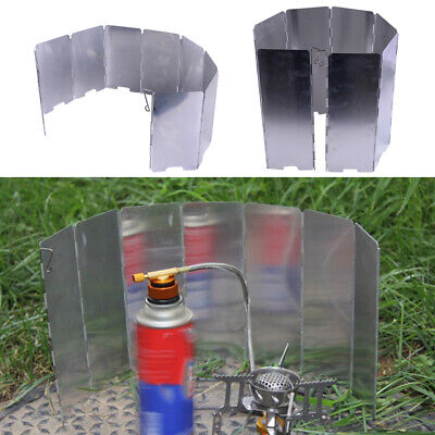 AU10.84 • Buy 8/9 Foldable Camping Cooking Picnic Gas Stove BBQ Burner Windshield Wind Screen