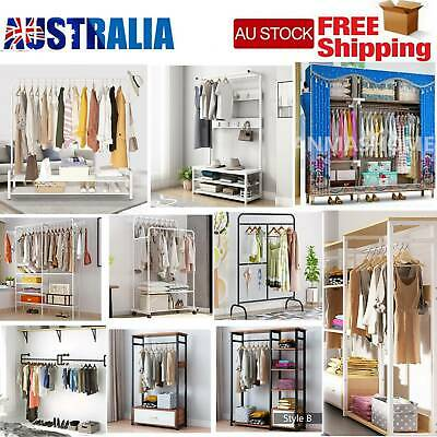 AU58.89 • Buy Metal/Wooden Clothes Rail Open Wardrobe Storage Shoe Rack Stand Hanging Rails AU