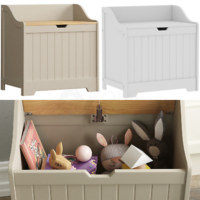 Priano Toy Box Chest Wooden Storage Blanket Lid Grey White Childrens Kids Tidy • 39.95£