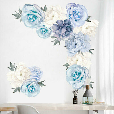 AU21.99 • Buy Blue Peony Rose Flowers Wall Stickers Removable Nursery Decals Girls Living Room
