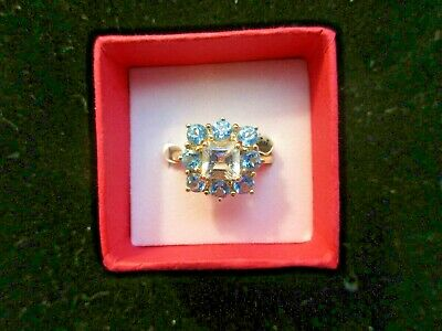 $129 • Buy Topaz Ring Set In 14K Yellow Gold. Size 7 -  Mothers Day