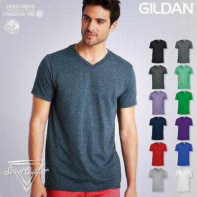 Mens V-Neck T-Shirt Gildan Ringspun Softstyle Soft Cotton Short Sleeve Plain Top • 4.88£