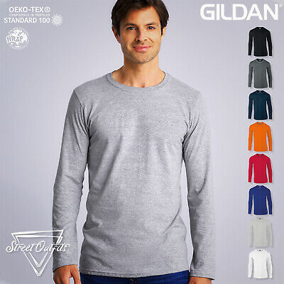 Mens Long Sleeve T-Shirt Gildan Ringspun Softstyle Soft Cotton Plain Top S-2XL • 7.46£