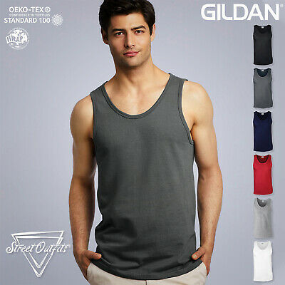 Mens Tank Top Vest Soft Cotton Gildan Ringspun Softstyle Plain Top Gym • 5.49£