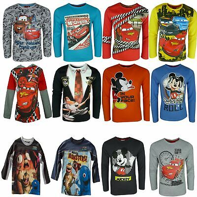 Boys Disney Cars Mickey Mouse Planes Monsters Long Sleeve Top • 9.49£