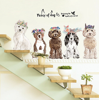 AU21.99 • Buy Dogs Puppies Flower Wreath Removable Wall Stickers Living Room Dog Puppies Fun