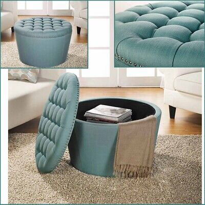 $188.62 • Buy Teal Storage Ottoman Table Coffee Large Round Ottomans Tufted Linen Upholstery
