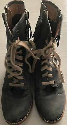 "$42 • Buy MTNG ORIGINALS-DarkGray Leather-Side Zip-Lace Up 1"" Ankle Boots-Spain-Sz 38/8M"