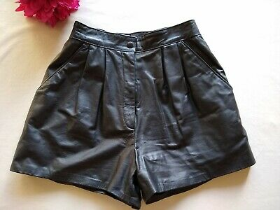 $32.50 • Buy I.O.U Cuir Classique Pour Femme Genuine Leather Shorts Lined Zip High Rise 26