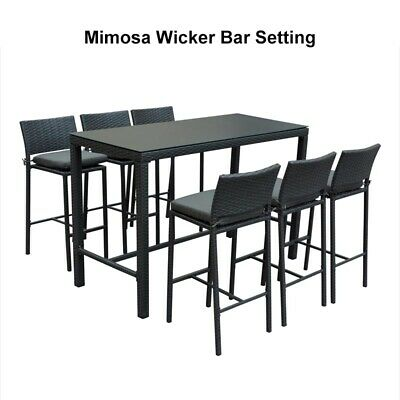 AU699 • Buy Mimosa Outdoor 7 PCE Wicker Rattan Bar Setting Table & 6 Padded Seat Bar Chairs