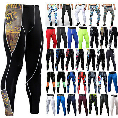 Mens Gym Compression Tight Base Layer Sport Leggings Running Pants Long Trousers • 8.83£