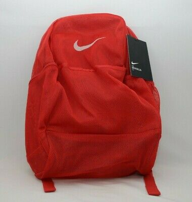 $35 • Buy Nike Brasilia Mesh Backpack Transparent Red/White New With Tags BA6050 657
