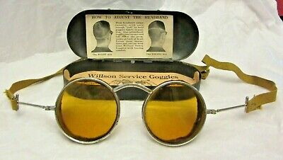 $49.99 • Buy Antique WILLSON Safety Service Goggles Style E1 Motorcycle WW1 Metal Box Amber