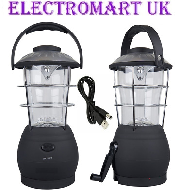 Led Wind Up Dynamo Or Usb Rechargeable Camping Lantern Light Torch Emergency • 19.95£