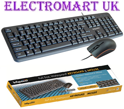 Computer Pc Full Size Wired Waterproof Keyboard And Mouse Multimedia Keys Black • 14.90£