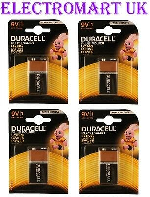 4 X Duracell Plus Power 9v Pp3 (mn1604) Battery Batteries Smoke Alarm  • 8.48£