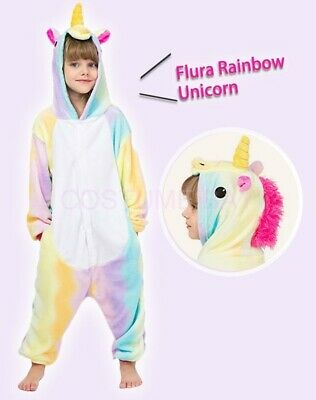 AU29.95 • Buy Kids Onesie Fluro Rainbow Unicorn Animal Kigurumi Pajamas Unisex Sleepwear